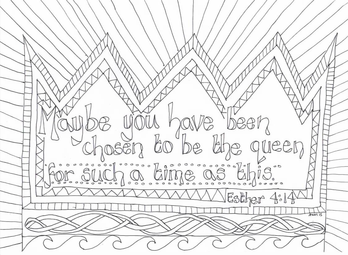 queen-esther-coloringpage | Coloring Page Book | 825x1125