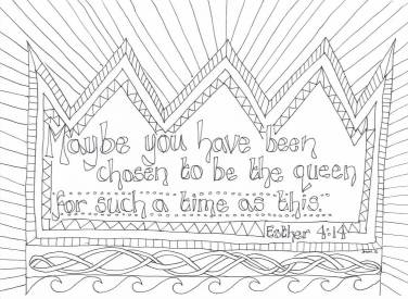 Esther: Reflective Colouring Sheet